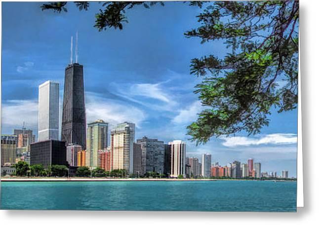 John Hancock Chicago Skyline Panorama Greeting Card by Christopher Arndt