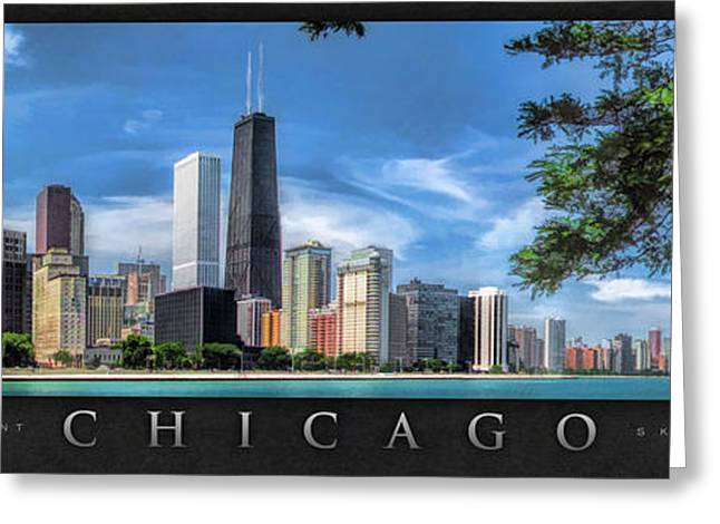 Chicago Paintings Greeting Cards - John Hancock Chicago Skyline Panorama Poster Greeting Card by Christopher Arndt