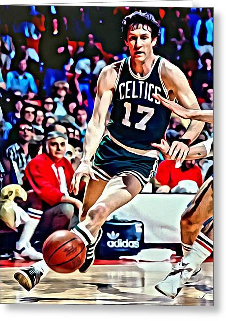 Slamdunk Greeting Cards - John Havlicek Greeting Card by Florian Rodarte