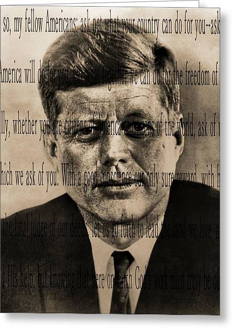 Inauguration Digital Greeting Cards - John Kennedy Greeting Card by Dan Sproul