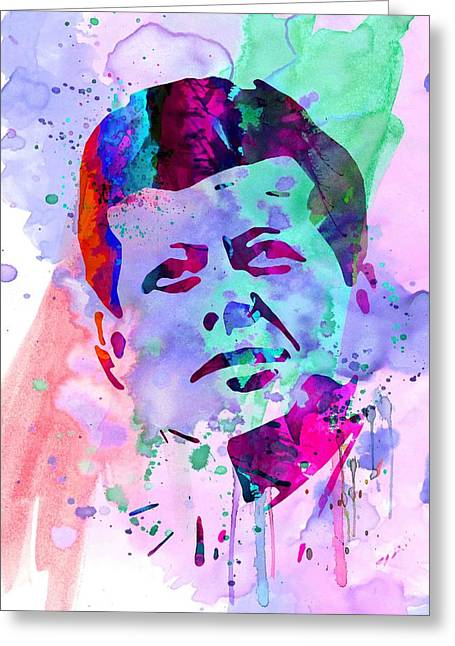 Rights Paintings Greeting Cards - John Kennedy Watercolor Greeting Card by Naxart Studio
