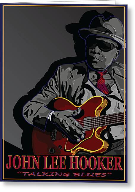 Larry Butterworth Greeting Cards - John Lee Hooker Greeting Card by Larry Butterworth