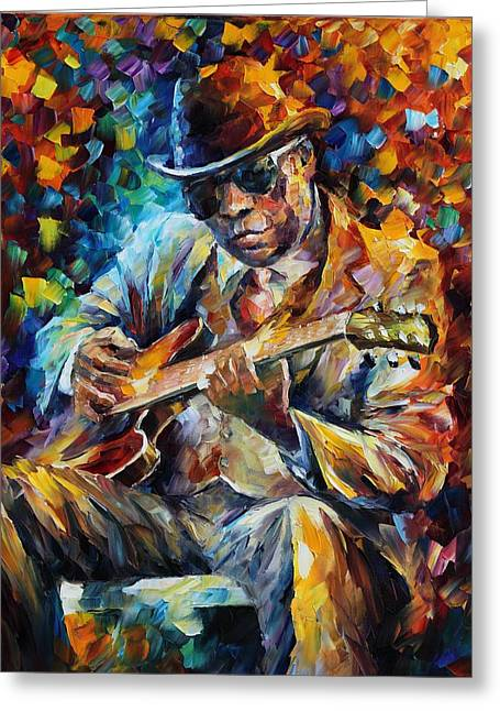 Biographies Greeting Cards - John Lee Hooker - Palette Knife Oil Painting On Canvas By Leonid Afremov Greeting Card by Leonid Afremov