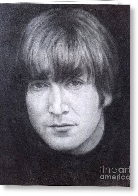 Cavern Drawings Greeting Cards - John Lennon - The Beatles Greeting Card by Richard John Holden