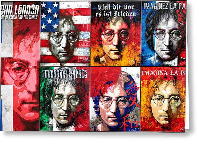 Icons Prints On Canvas Greeting Cards - John Lennon - a man of peace and the world. Second poster Greeting Card by Vitaliy Shcherbak