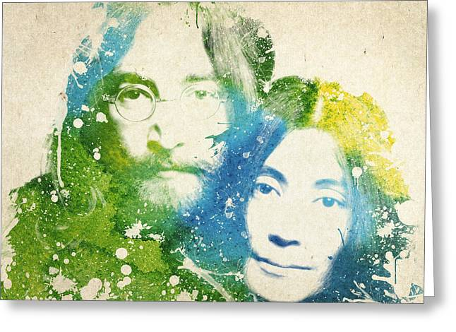 Rocks Drawings Greeting Cards - John Lennon and yoko ono Greeting Card by Aged Pixel