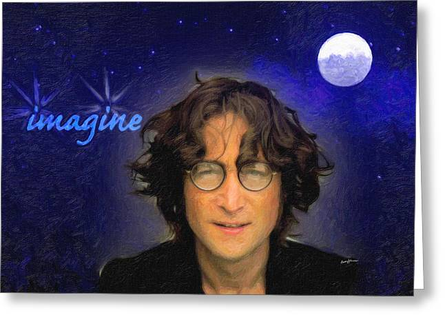 Anthony J Caruso Greeting Cards - John Lennon Greeting Card by Anthony Caruso