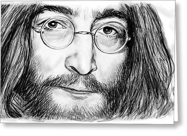 Popular Music Greeting Cards - John Lennon art drawing sketch poster Greeting Card by Kim Wang