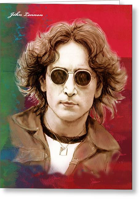 December Mixed Media Greeting Cards - John Lennon art stylised drawing sketch poster Greeting Card by Kim Wang