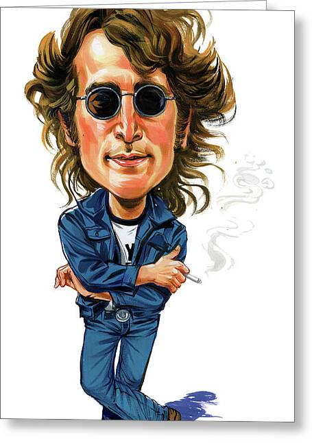 British Celebrities Greeting Cards - John Lennon Greeting Card by Art