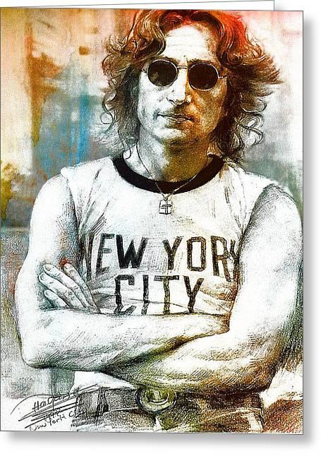 John Lennon Photographs Greeting Cards - John lennon artwork Greeting Card by Allen Beilschmidt