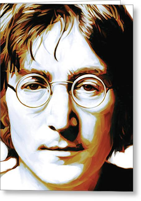 Music Greeting Cards - John Lennon Artwork Greeting Card by Sheraz A