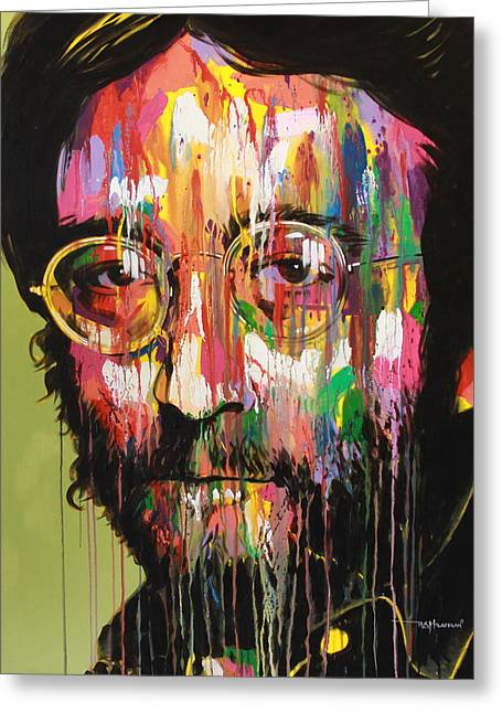 The Beatles All You Need Is Love Greeting Cards - John Lennon Greeting Card by Bruce McLachlan