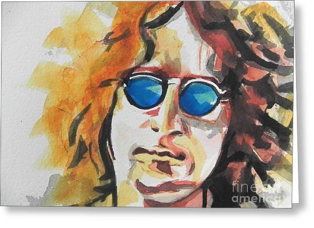 Famous Artist Greeting Cards - John Lennon 03 Greeting Card by Chrisann Ellis