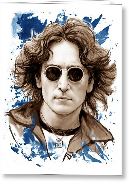 Popular Music Greeting Cards - John lennon colour drawing art poster Greeting Card by Kim Wang