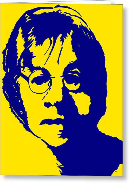 Duo Tone Digital Art Greeting Cards - John Lennon digital duo-tone Greeting Card by Ivan Chitorkin