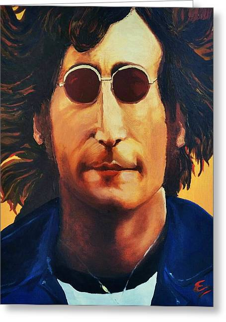 Famous Person Mixed Media Greeting Cards - John Lennon   Greeting Card by Edward Pebworth