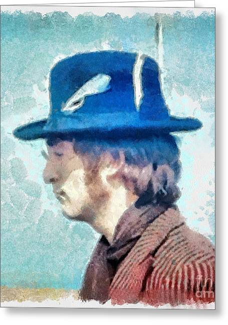 John Lennon Photographs Greeting Cards - John Lennon - Feathers In His Hat Greeting Card by Paulette B Wright