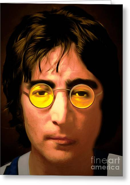 British Celebrities Mixed Media Greeting Cards - John Lennon Imagine 20150305 Greeting Card by Wingsdomain Art and Photography