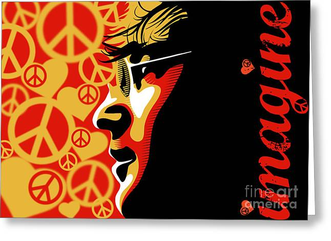 Soul Musicians Greeting Cards - John Lennon Imagine Greeting Card by Sassan Filsoof