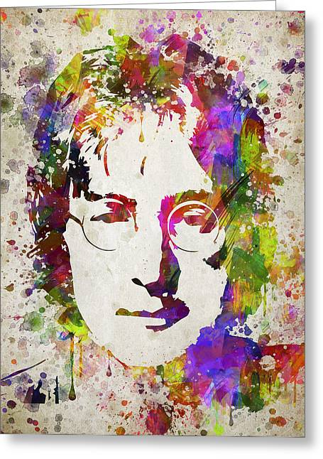 John Lennon In Color Greeting Card by Aged Pixel