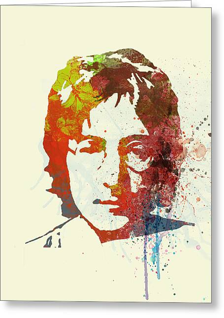 Music Bands Greeting Cards - John Lennon Greeting Card by Naxart Studio