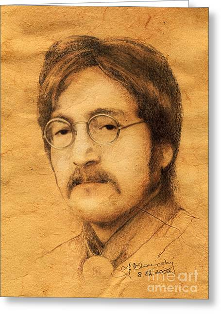 Music Drawings Greeting Cards - John Lennon Greeting Card by Jaroslaw Blaminsky