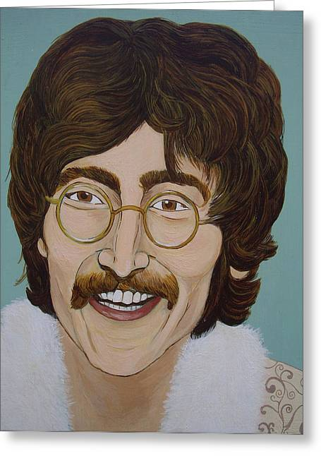 Paul Mc Cartney Greeting Cards - John Lennon Greeting Card by Linda Kassabian