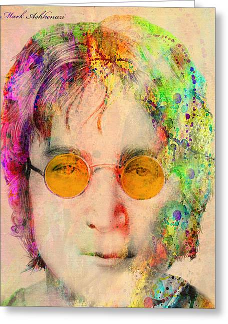 80s Greeting Cards - John Lennon Greeting Card by Mark Ashkenazi