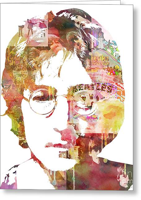 Celebrity Portrait Greeting Cards - John Lennon Greeting Card by Mike Maher