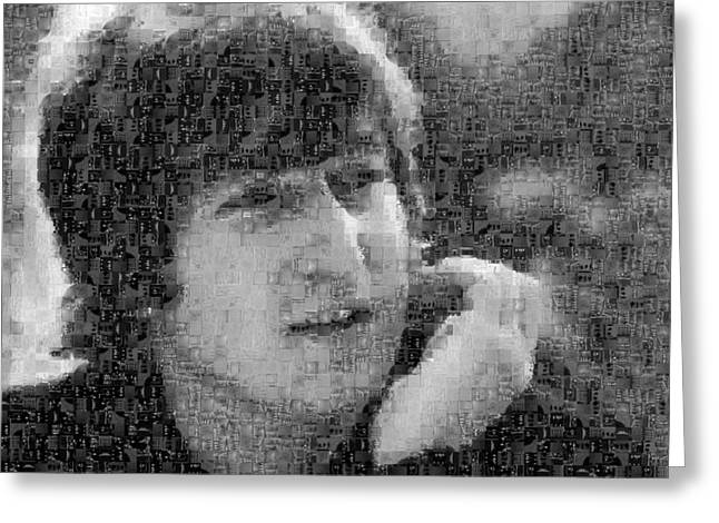 Sgt Pepper Photographs Greeting Cards - John Lennon Mosaic Image 10 Greeting Card by Steve Kearns