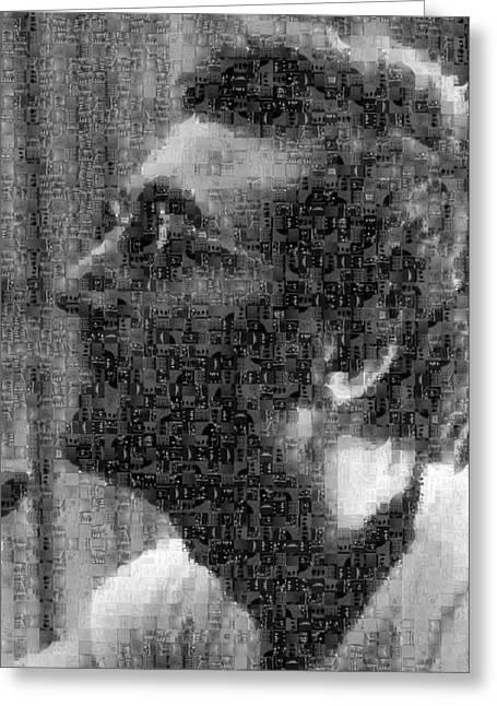 Sgt Pepper Photographs Greeting Cards - John Lennon Mosaic Image 12 Greeting Card by Steve Kearns