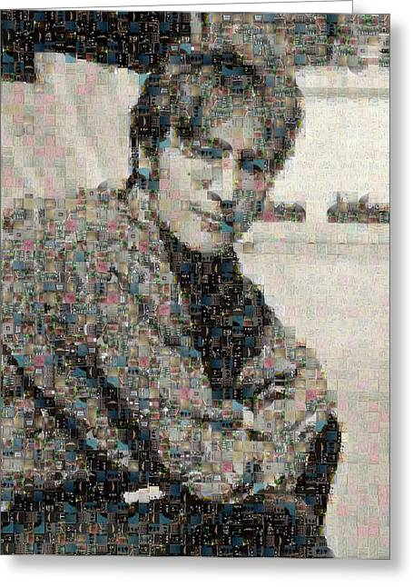 Sgt Peppers Digital Art Greeting Cards - John Lennon Mosaic Image 2 Greeting Card by Steve Kearns