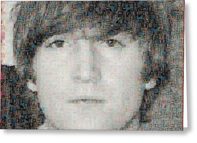Sgt Pepper Photographs Greeting Cards - John Lennon Mosaic Image 6 Greeting Card by Steve Kearns