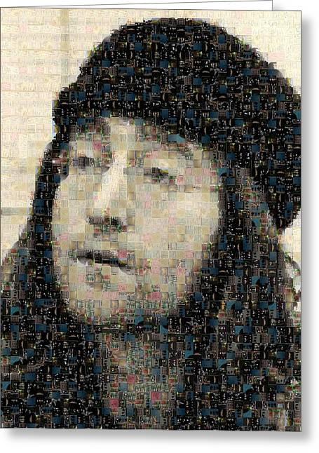 Sgt Pepper Photographs Greeting Cards - John Lennon Mosaic Image 7 Greeting Card by Steve Kearns