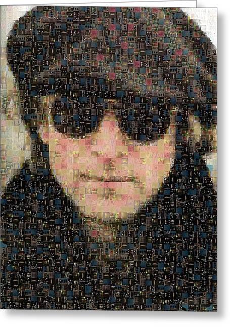 1960 Greeting Cards - John Lennon Mosaic Image 8 Greeting Card by Steve Kearns