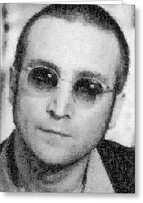Sgt Pepper Photographs Greeting Cards - John Lennon Mosaic Image 9 Greeting Card by Steve Kearns
