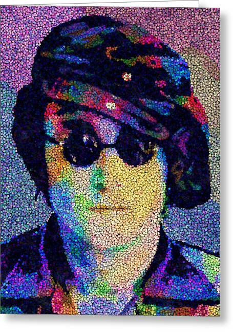 Evolved Greeting Cards - John Lennon Mosaic Greeting Card by Jack Zulli