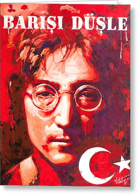 Famous Person Mixed Media Greeting Cards - John Lennon. on the Turkish flag Greeting Card by Vitaliy Shcherbak