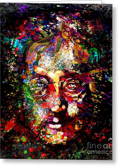 Ringo Starr Mixed Media Greeting Cards - John Lennon Painting Art Print Greeting Card by Ryan RockChromatic