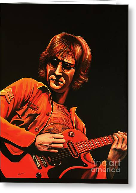 Beatles Paintings Greeting Cards - John Lennon Greeting Card by Paul  Meijering