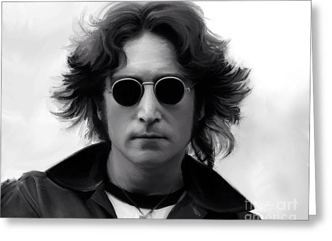 70s Greeting Cards - John Lennon Greeting Card by Paul Tagliamonte