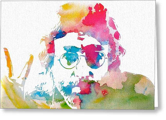 Rolling Stones Greeting Cards - John Lennon Peace Watercolor Greeting Card by Dan Sproul