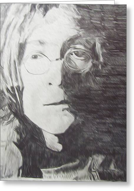 Colorful Photography Drawings Greeting Cards - John Lennon Pencil Greeting Card by Jimi Bush