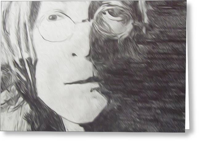 John Lennon Pencil Greeting Card by Jimi Bush
