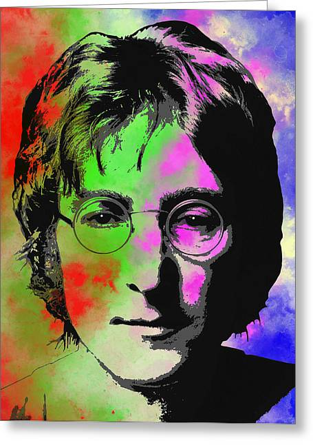 Strawberry Art Greeting Cards - John Lennon Pop Art Closeup Greeting Card by Daniel Hagerman