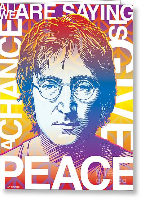 Sixties Greeting Cards - John Lennon Pop Art Greeting Card by Jim Zahniser