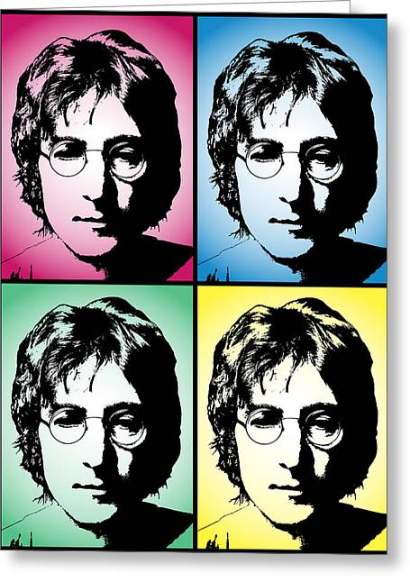 New Britain Greeting Cards - John Lennon Pop Art Panel Greeting Card by Daniel Hagerman