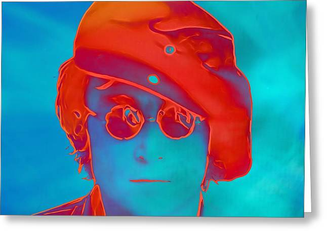 Rolling Stones Greeting Cards - John Lennon Pop Art Portrait Greeting Card by Dan Sproul