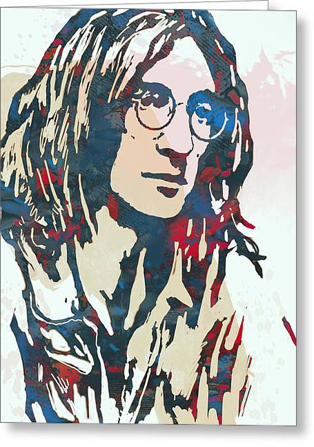 John Lennon Art Greeting Cards - John Lennon pop art sketch poster Greeting Card by Kim Wang